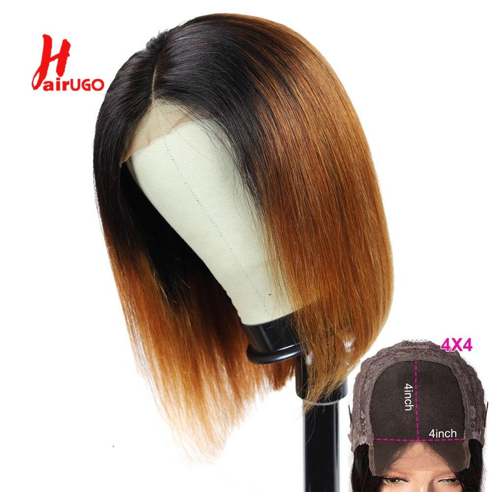 HairUGo Brazilian Remy 1B 30 Straight Lace Wigs 1B 99J 4x4 Bob Lace Closure Wig Human Hair Wigs For Black Women Pre Plucked 180%